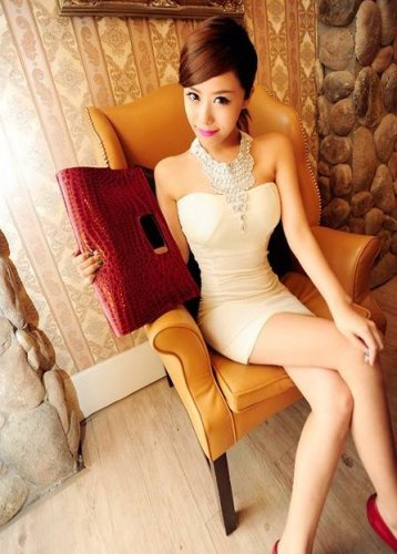 Women Elegant Embroidery Beading Hanging Neck Clubwear Cocktail Dress