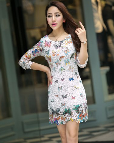 Women Floral Lace Back Butterfly Print Flared 3/4 Sleeve Long Tunic Top Dress