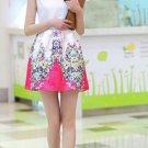 Trendy Women Ladies Digital printing sleeveless Pleated waist vest dress
