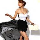 Black and white Strapless Asymmetrical Hem Maxi Chiffon Clubwear Cocktail Party Dress
