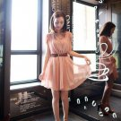 Fashion Vintage Elegant Sweet Women Chiffon Slim Mini Dress Casual Bat Shirt Cap Sleeves