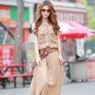 Attractive Women Vintage Boho Sleeveless Chiffon Polka Dots Party Long Maxi Beach Dress