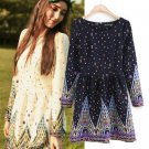 Charm Vintage GIRL Women Gemstone Print Long Sleeves Prom Party Dress Gown