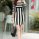 Europe fashion Women's Black White Stripes Party Gown Clubwear Stretch Dress