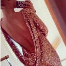 Sexy Women Lady Open back sequins long sleeve backless Stretch bodycon Clubwear party Dress