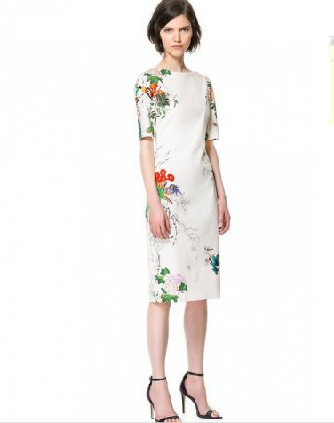 Elegant New Fashion Oriental Flower Print Crew Neck Traditional Style Shift Dress Gown