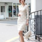 Fashion Women Black White Apricot Lace Slim Style Puff Long Sleeve Wrap Dress