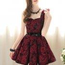 New Ladies Rose Floral Printed Emprie Waist Ball Gown Big Skirt Sleeveless Dress