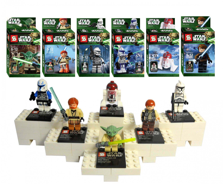 Lots 6 Pcs Minifigure Star Wars Jedi Knight Obi Wan Storm Troopers Lego