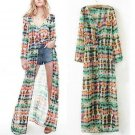 Trendy Stylish Bohemia Tie Dye Printing Button Up Long Cardigan Maxi Dress