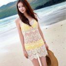 Women Lace Stitch Crochet Sleeveless Swimwear Bikini Cover Up Beach Beige Dress