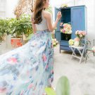 Floral Flower Print Pleated Retro Maxi Long Elastic Band Waist Skirt