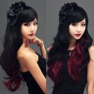 New Long Lolita Black Red Wig Wavy Curly Hair Full Anime Wigs