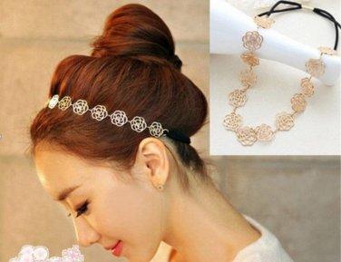 Vintage Lovely Metallic Lady Hollow Rose Flower Elastic Hair Band Headband Head Band