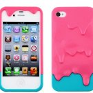 Colorful Cute 3D Melt Ice-Cream Hard Cover Case Skin Protector for iPhone 4 4S 4G