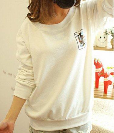 Funny Harajuku Game Poker Card Pullover Sweatshirt Women Long Sleeve Blouse Tops T Shirt