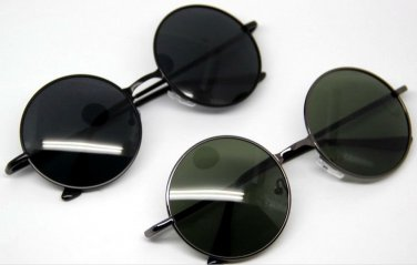 Vintage Retro Round Metal Frame Sunglasses Glasses Eyewear Black Lens