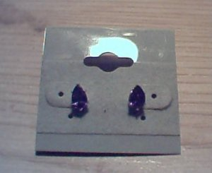 Silver Earrings with Pear Shaped Amethyst