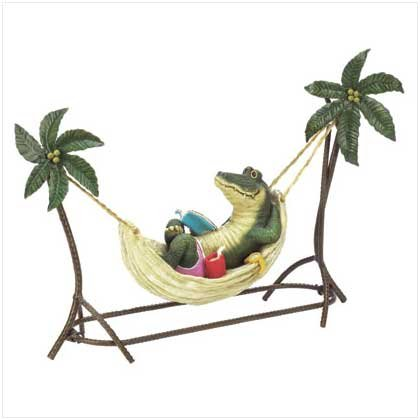 CROCODILE IN HAMMOCK FIGURINE