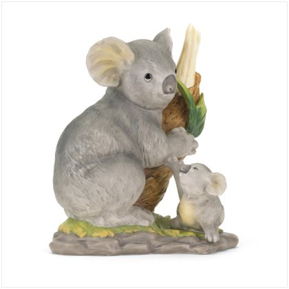 PORCELAIN KOALA BEAR ON TREE BRANCH