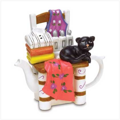 BLACK CAT TEA POT FIGURINE