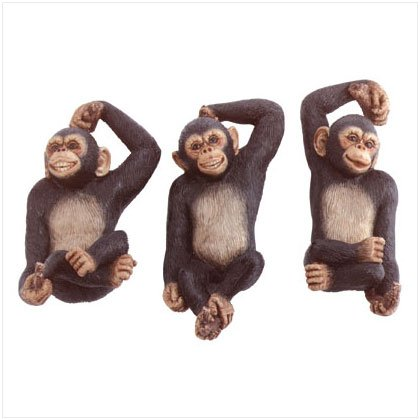 ALAB 3 PC MONKEYS WALL PLAQUES