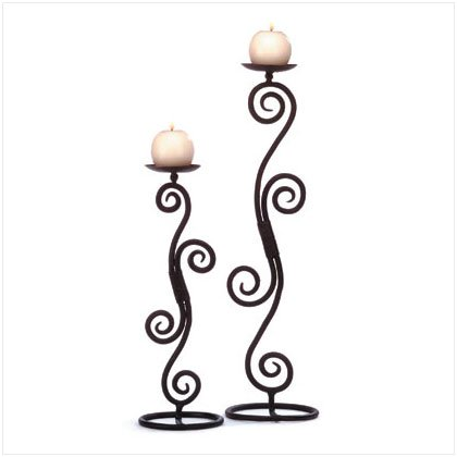 WROUGHT IRON SCROLL CANDELHOLDER PAIR