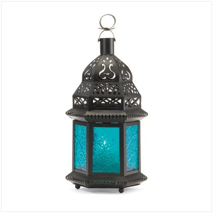 MOROCCAN LANTERN WITH BLUE GLASS