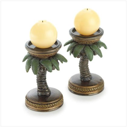 PAIR PALM TREE CANDLEHOLDERS