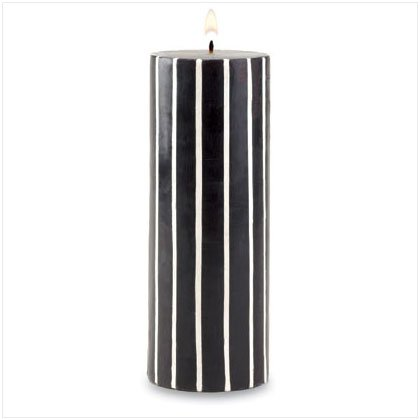 BLK/WHI STRIPE PILLAR CANDLE