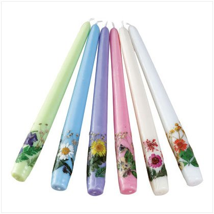 6 PC DRY FLOWERS TAPER CANDLES