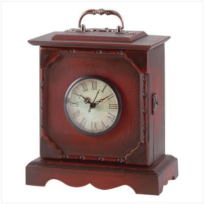 ANTIQUE WOOD TRAVEL CLOCK