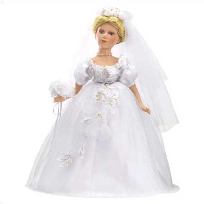 "16"" PORCELAIN VICTORIAN BRIDE DOLL"