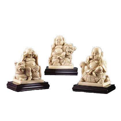 3 PC 'MANDARIN IVORY' BUDDHAS