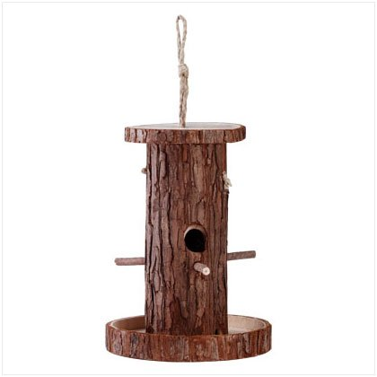 WOOD BARK BIRDFEEDER