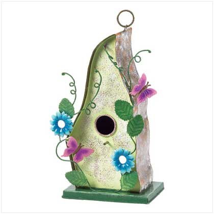 METAL BIRDHOUSE W/BLUE FLOWERS