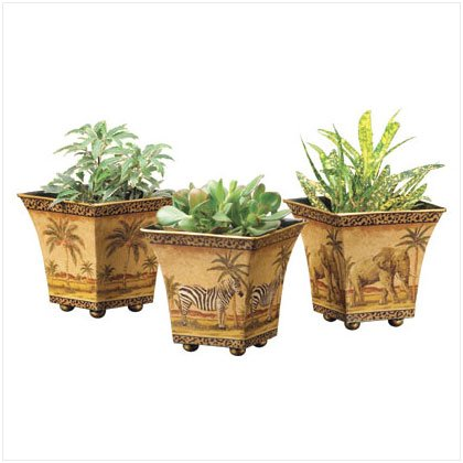 3 PC. NESTED SAFARI TIN POTS
