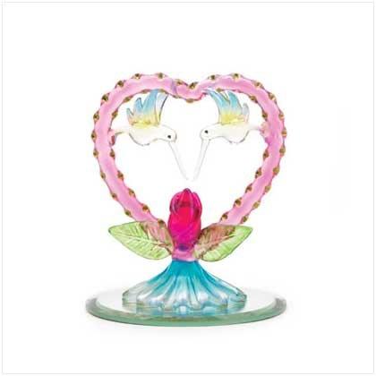 SPUN GLASS HEART W/2 HUMMINGBIRDS