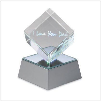 LOVE U DAD CUBE W/LED BASE