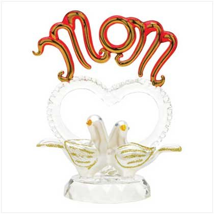 'MOM' GLASS DOVES FIGURINE