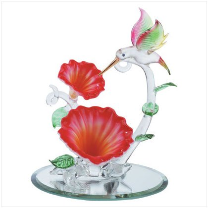 SPUN GLASS HUMMINGBIRD/FLOWERS