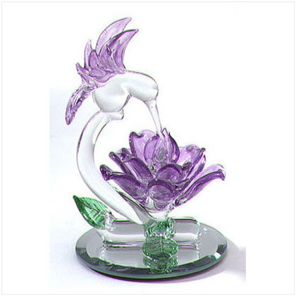 GLASS HUMMINGBIRD/FLOWER SCULP