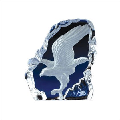 CLEAR GLASS CARVED EAGLE