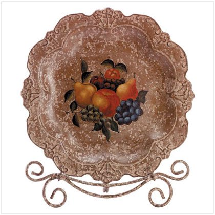 ANTIQUE FRUIT PLATE/METAL STAND