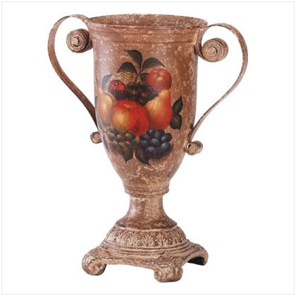ANTIQUE FRUIT VASE/METAL HANDLE