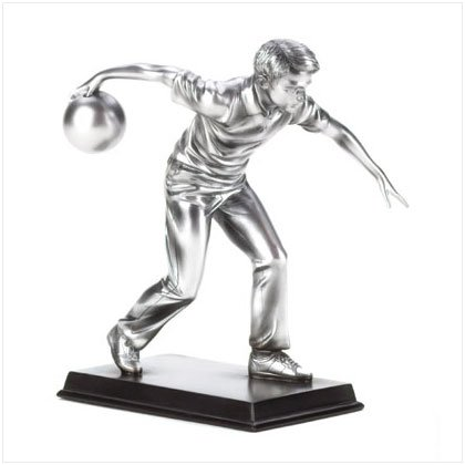 PEWTER COLOR BOWLER FIGURINE