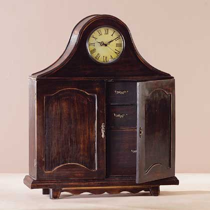 WOOD MANTEL CLOCK CABINET