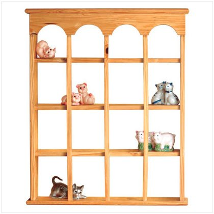 16 COMPARTMENT WOOD WALL CURIO