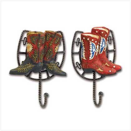 SET 2 COWBOY BOOT WALL HOOK