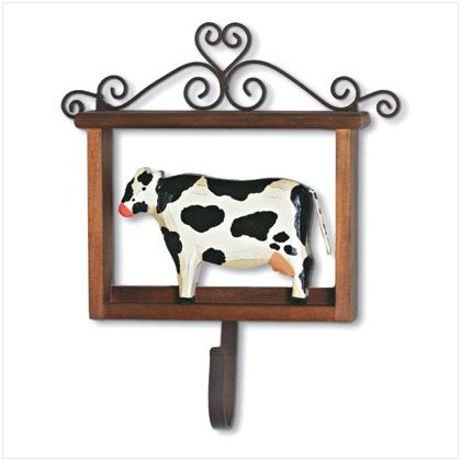 WOOD FRAME FOLK ART COW HOOK